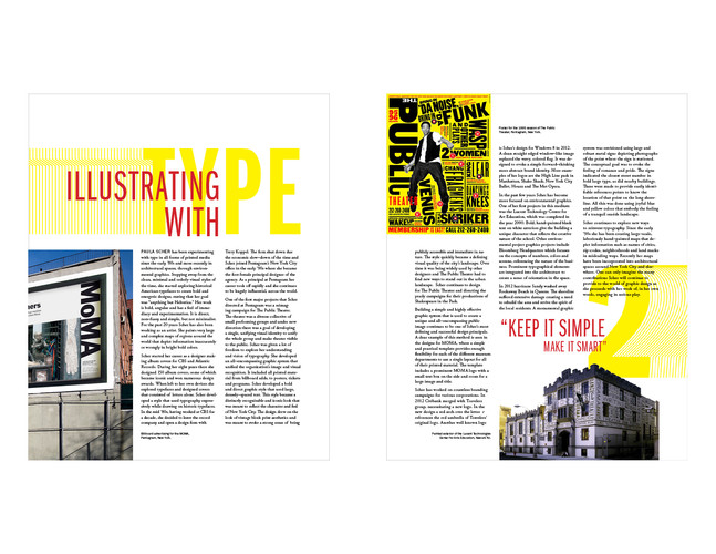 Two page magazine spread