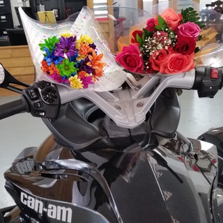 Flowers and a Can-Am for her birthday.