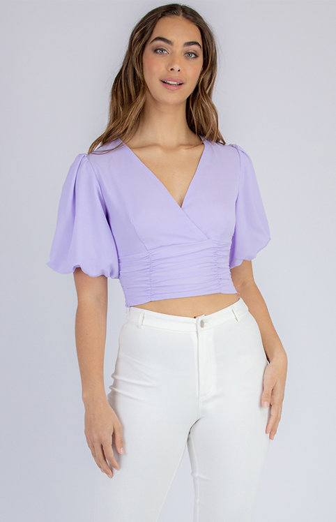 V Neck Blouse With Puff Sleeves
