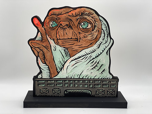 ET the Extraterrestrial Woodcut