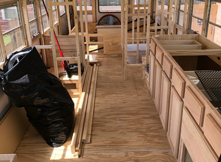 Rou Bus- Day 121: Framing and Cabinets and Rebuilding, Oh My!