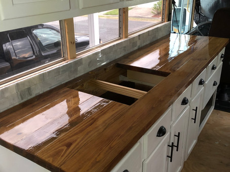 Rou Bus: Day 284- Traveling, Kitchen Counter, Plumbing, and a Tiny House Fest