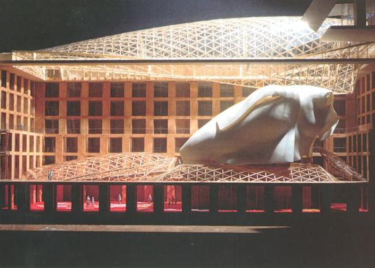 PARISER PLATZ 3      Atrium mit Konferenzsälen, Modell