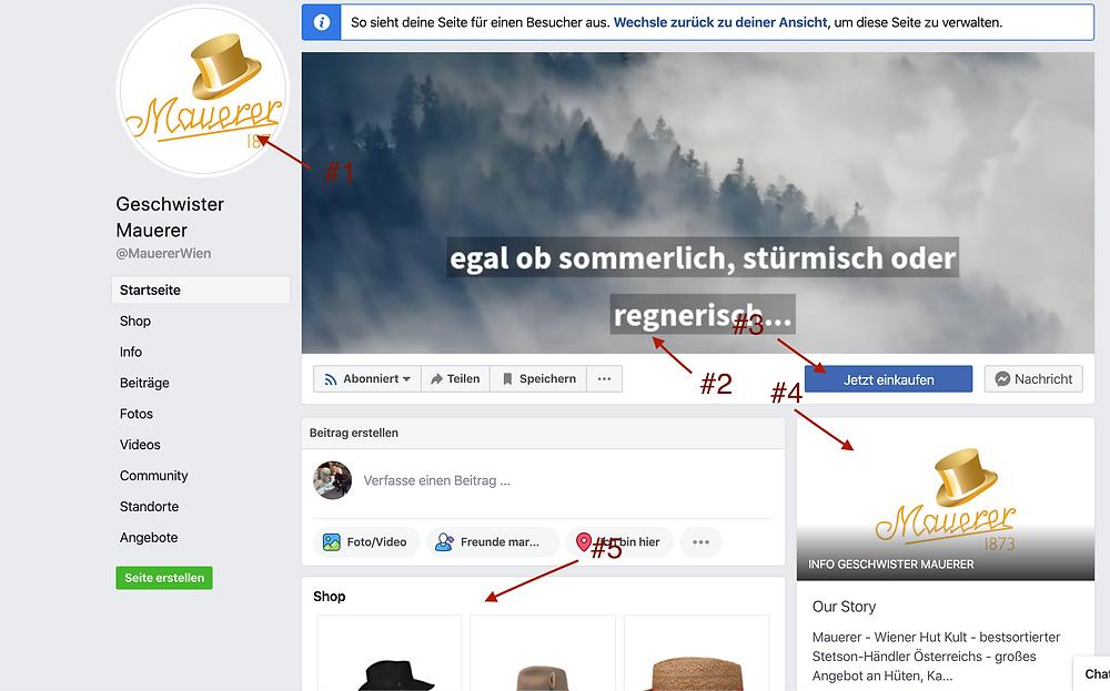 Optimale Facebook Unternehmens Seite