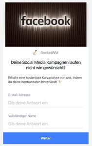 Facebook Werbung Kontaktformular