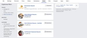 Suchergebnisse der Facebook Suche
