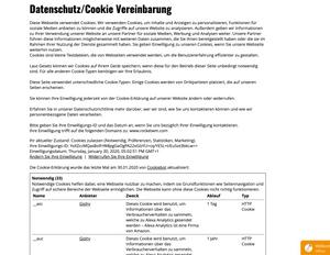 Schöne Cookie Einstellung im eigenem Design