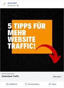 Facebook Werbeanzeige für erhöhten Traffic