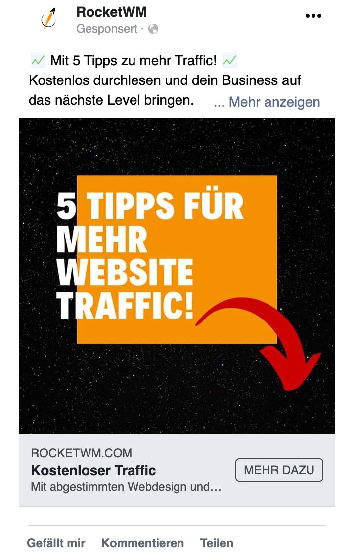 Der Werbetext ist bei Facebook eingeschränkt