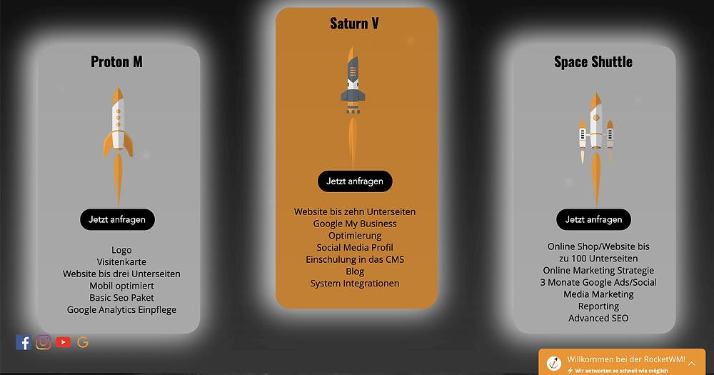 Webdesign und Online Marketing Pakete von der RocketWM