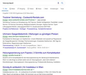 Bei einer Suchanfrage nach Installateur Leistung, erscheinen bei der Google Suche auch Werbeanzeigen von Installateur Firmen um über das Keyword Kunden zu gewinnen.