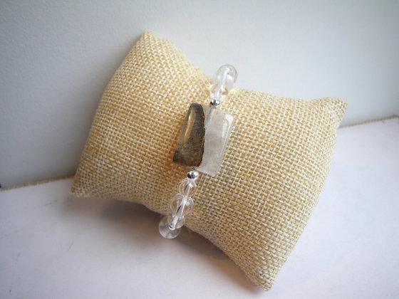 Bracelet Cristal de Roche et Quartz Opal