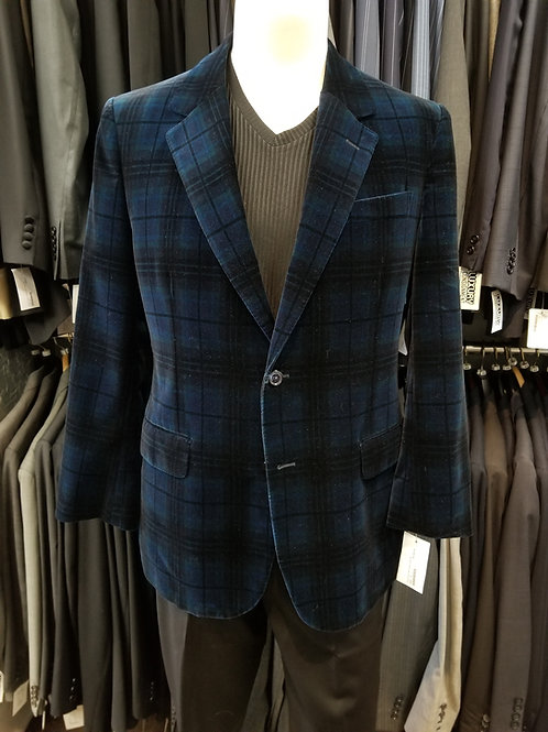 Alexander McQueen Velvet Blue Plaid Dinner Jacket