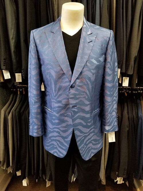 Tom Ford Blue Tiger Stripe Dinner Jacket Blue