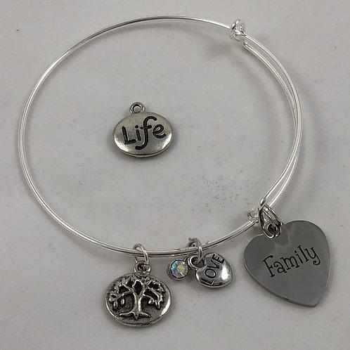 Family Tree Hearts Expandable Bangle Bracelet