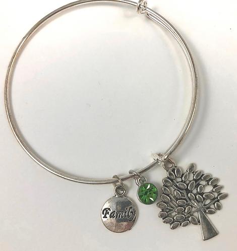 Family Tree Expandable Bangle Bracelet with Crystal Bling