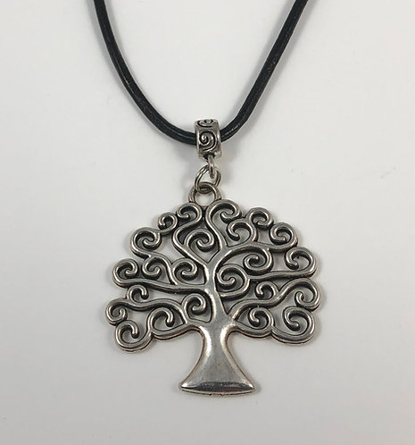 """Whimsical Tree of Life 24"""" Leather Necklace"""