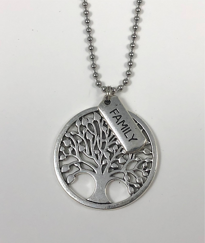 """Family and Round Tree 24"""" Necklace"""