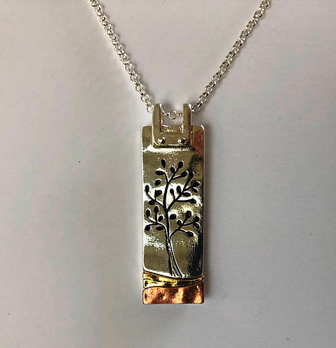 "Etched Tri-tone TREE of LIFE 16"" Necklace"