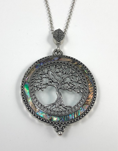 Magnifying Glass Abalone Accented Tree of Life Necklace wit