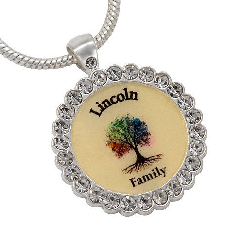 Personalized Family Tree Rhinestone Accented Necklace