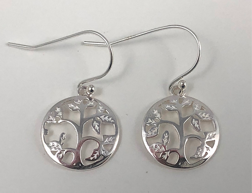 Sterling Silver Delicate Tree Circle Earrings