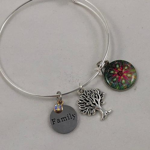 Star Flower Family Tree Expandable Bangle Bracelet