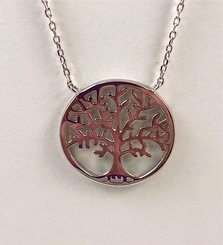 "Sterling Silver Tree Necklace on 16"" delicate chain"