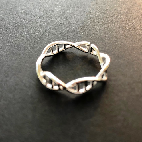 Sterling Silver DNA Helix Ring adjustable