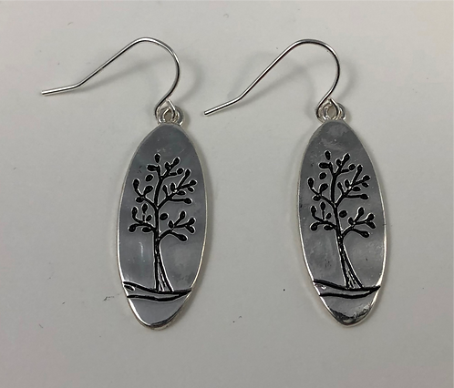 Oval Etched TREE of LIFE Earrings