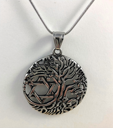 Star of David Tree of Life Necklace