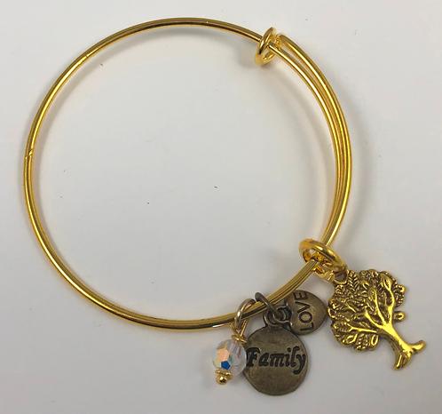 FAMILY Tree Expandable Bangle Bracelet