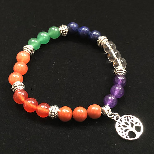 Glass and metal beaded bracelet