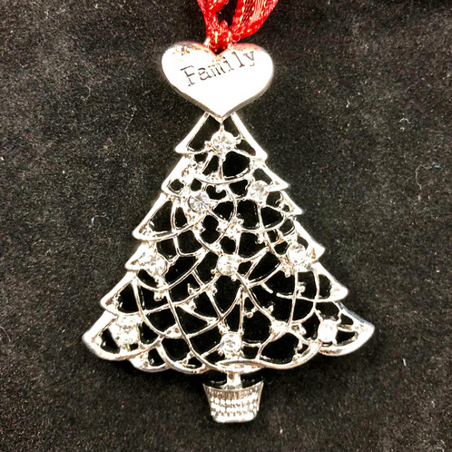 delicate metal christmas tree in silver with crystal rhinestone ornaments and a heart shaped family charm on the top it is 2 12 h x 3 w - Metal Christmas Ornaments