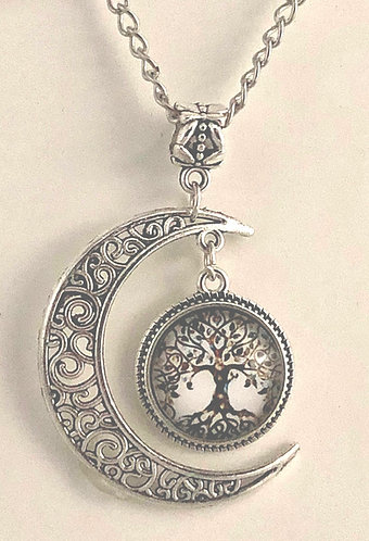 Moon and Picture Glass Tree Pendant