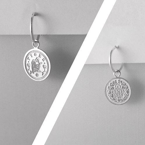 LOVE token TIGERPOP small - 'Dutch coin dubbeltje' small hoop earring