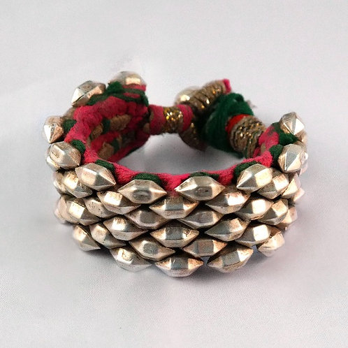 Silver Punjab Cuff Bracelet- Pink, Green & Beige