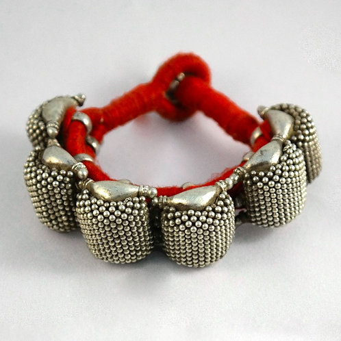 Silver Etnic Ponch Bracelet with Red cord