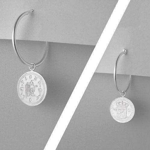 LOVE token TIGERPOP large - 'Dutch coin gulden' big hoop earring
