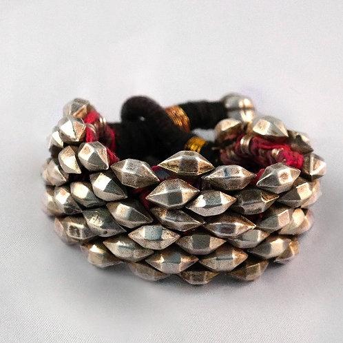 Silver Punjab Cuff Bracelet - Purple & Pink