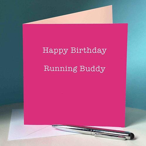 Happy Birthday Running Buddy Card (Pink)