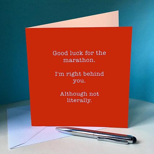 Good luck for the marathon card