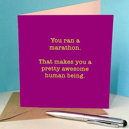 Awesome human being marathon card