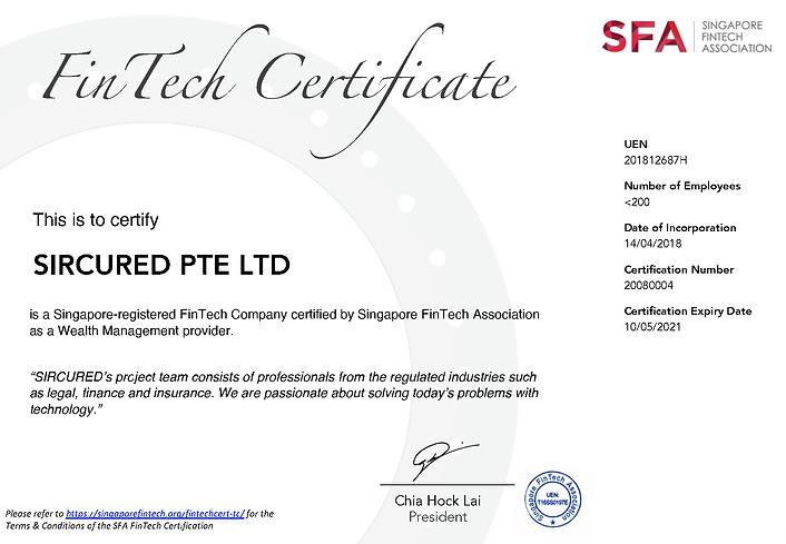 Singapore FinTech certified company from Singapore FinTech Association (SFA)