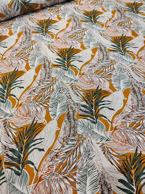 Mustard & White Palm leaves Viscose