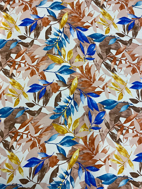 Vibrant Blue/Brown Watercolour Leaves Viscose