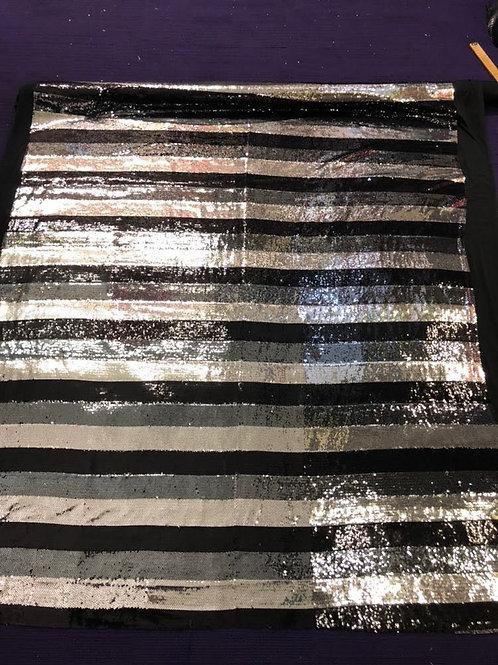 Monochrome Black Stripes Sequin
