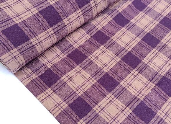 Plum/Beige Viscose Flannel