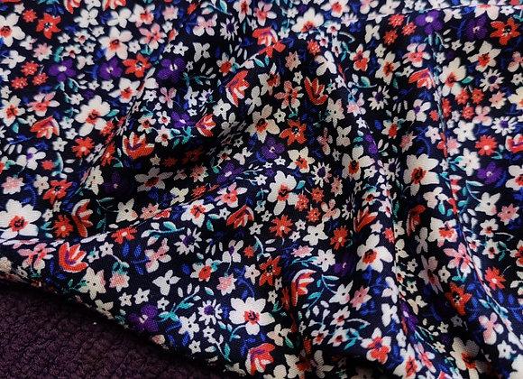 Purple/Red Floral Viscose Challis