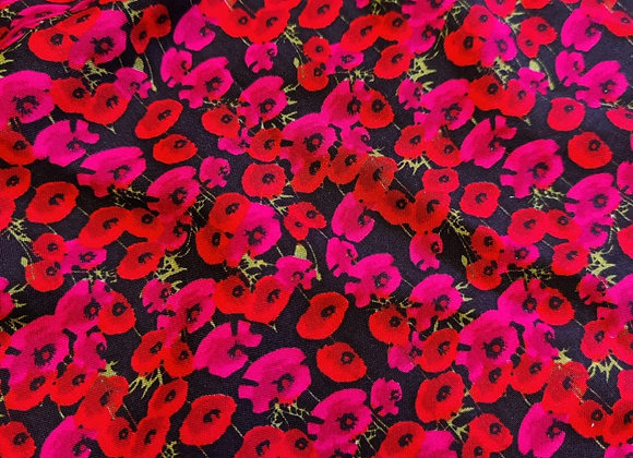 Red/Fuchsia Pink Poppy Viscose Challis